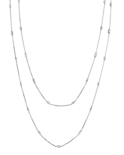 18k White Gold By-the-Yard Diamond Necklace, 48