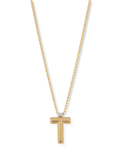 Princess 18K Yellow Gold Diamond Initial Necklace, T