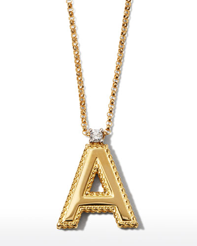 Princess 18K Yellow Gold Diamond Initial Necklace, A