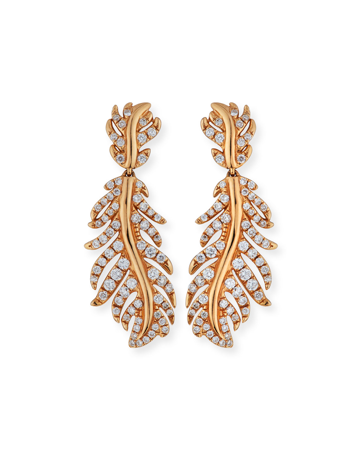 Phoenix 18K Rose Gold Feather Earrings with Diamonds