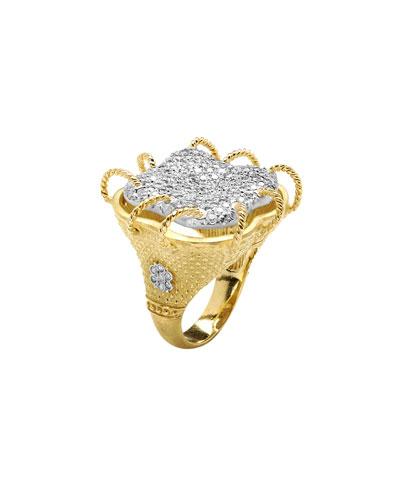 Karizma 18k Diamond Cocktail Ring w/ Twisted Wires, Size 6.5