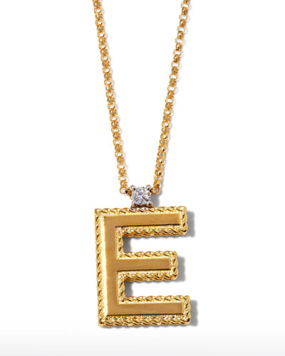 Princess 18K Yellow Gold Diamond Initial Necklace, E