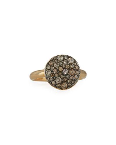 Sabbia Rose Gold & Brown Diamond Ring, Size 54