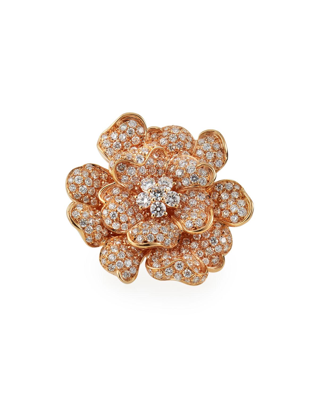 18k Rose Gold Pave Diamond Large Flower Ring
