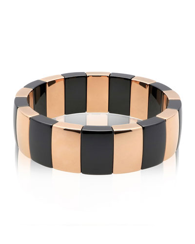 AURA 18k Rose Gold & Black Ceramic Rectangular Stretch Bracelet