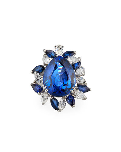 Platinum Blue Sapphire Pear Ring w/ Diamonds