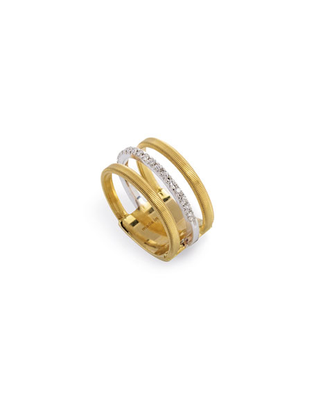Marco Bicego Masai Three-Row 18K White & Yellow Ring with Diamonds