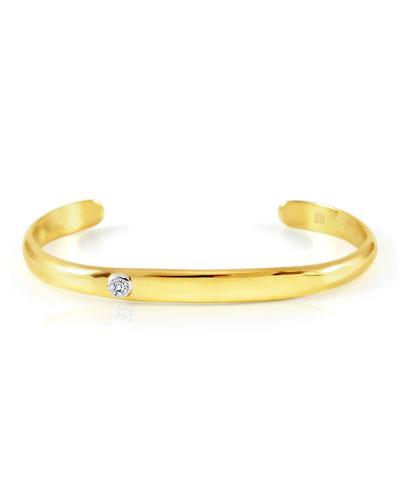 18K Yellow Gold Cuff Bracelet with Inset Diamond