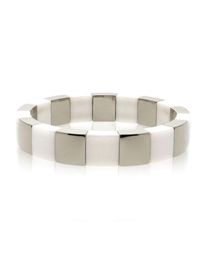 AURA Square White Ceramic & 18k White Gold Stretch Bracelet