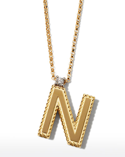 Princess 18K Yellow Gold Diamond Initial Necklace, N