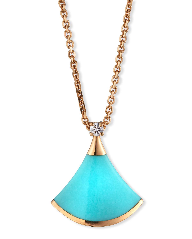 Divas' Dream 18k Rose Gold Turquoise Pendant Necklace