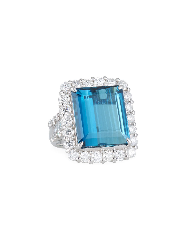 ALEXANDER LAUT Platinum Blue Tourmaline & Diamond Ring, Size 6.5