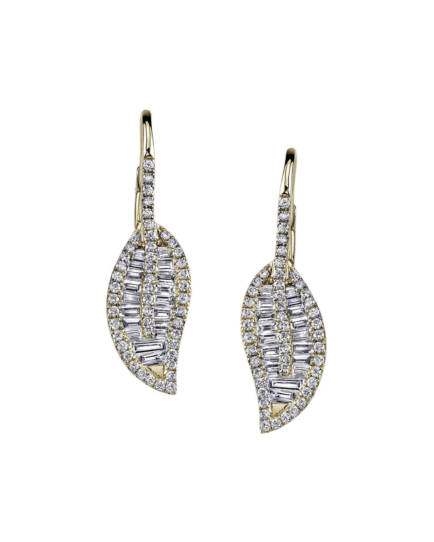 18k Gold Diamond Leaf Drop Earrings