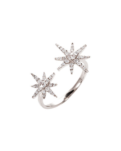 Starburst 18K White Gold Open Ring with Diamonds, Size 7