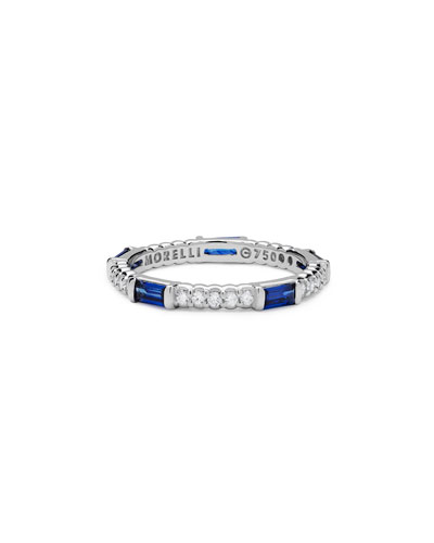 Blue Sapphire & Diamond Pinpoint Baguette Ring in 18K White Gold