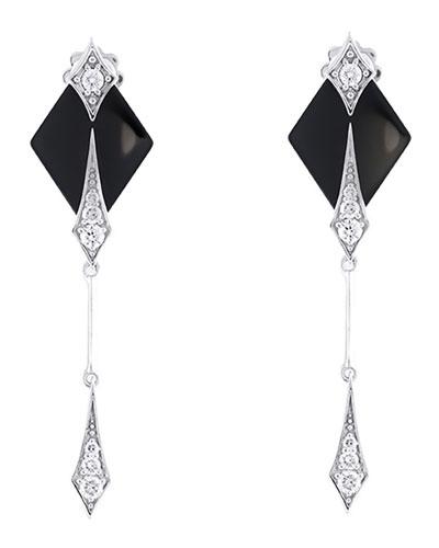 DIVA Black Ceramic & 18k White Gold Diamond Dangle Earrings