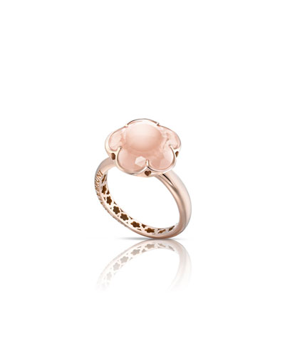 Bon Ton Pink Quartz Flower Ring in 18K Rose Gold, Size 6