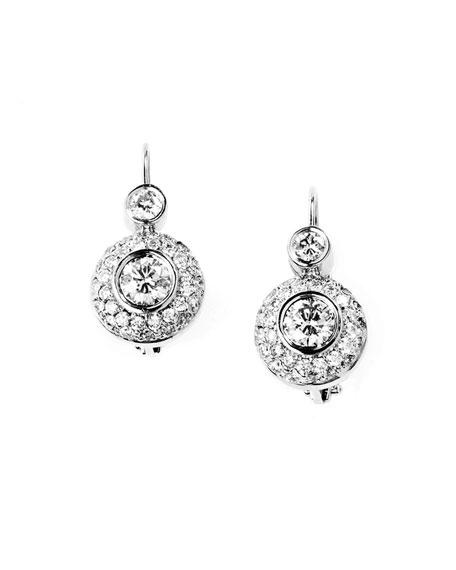 Stambolian 18k White Gold Diamond Drop Earrings