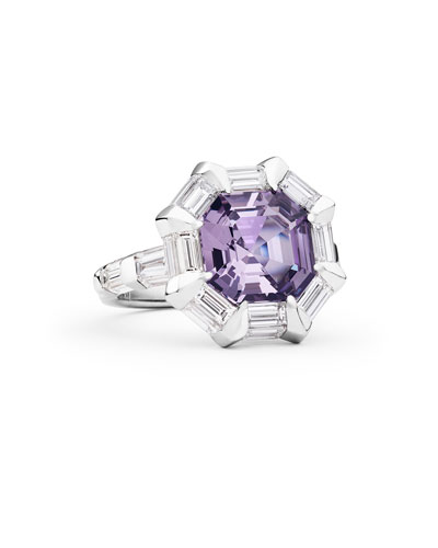 Moderne Octagon Lavender Spinel & Diamond Ring