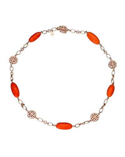 Coral & Diamond Station Bracelet in 18K Rose Gold