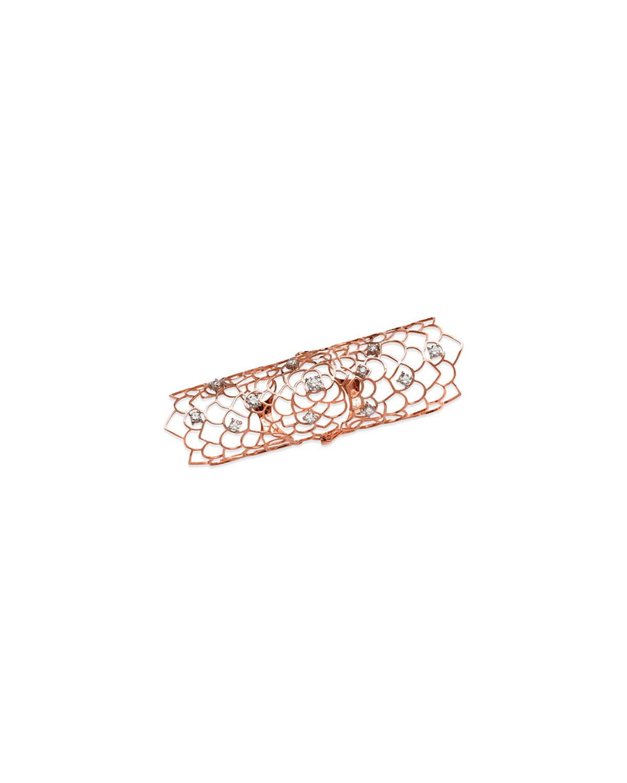 STAURINO FRATELLI 18K ROSE GOLD MORESCA LONG HINGED ARMOR RING W/ DIAMONDS