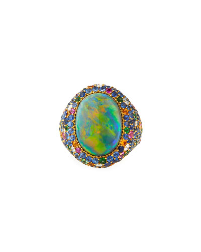 18k Yellow Gold Black Opal & Multi-Pave Ring