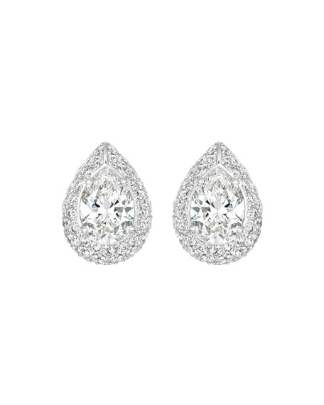 Eclat Jewels 18k White Gold Pear-Shaped Diamond Earrings