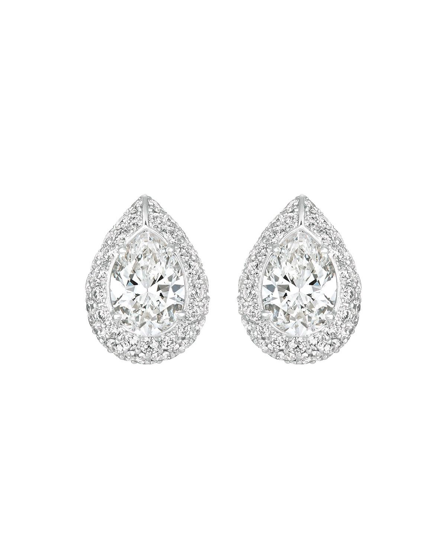 18k White Gold Pear-Shaped Diamond Earrings