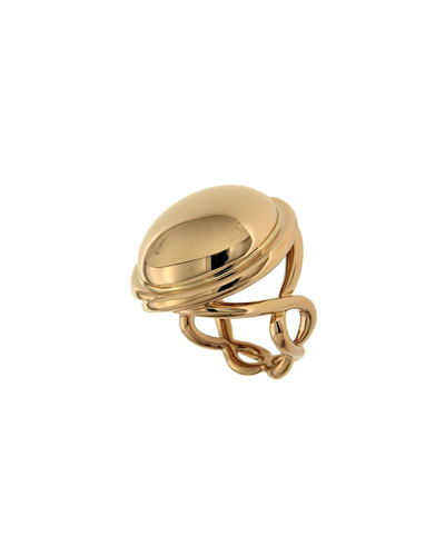 18k Gold Cabochon & Helix Ring