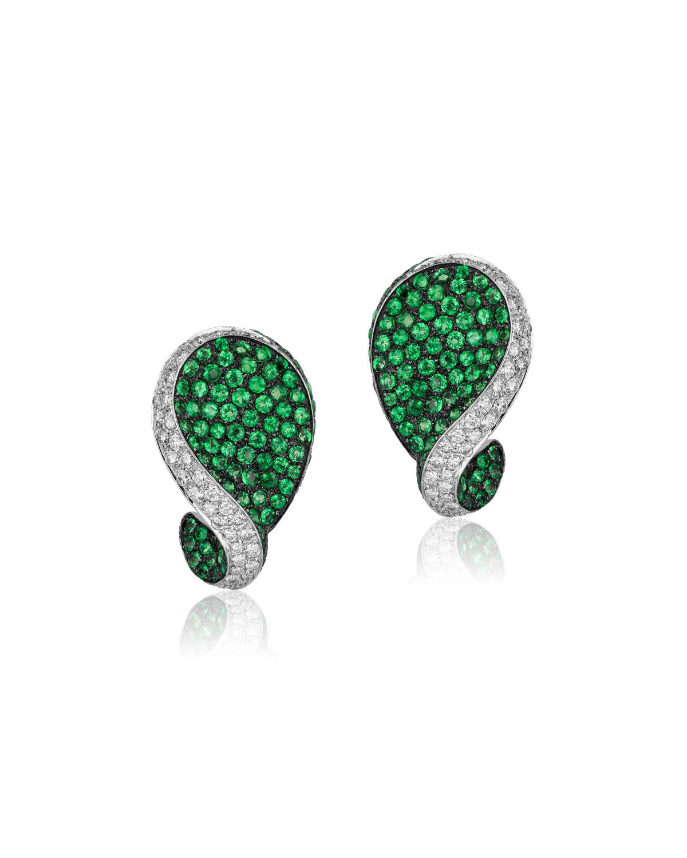 ANDREOLI 18K White Gold Tsavorite & Diamond Earrings