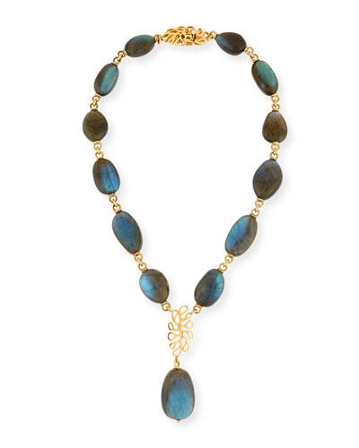 Sea Leaf Labradorite Y-Drop Necklace