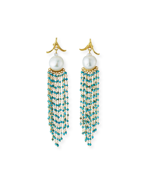 18k Pearl & Turquoise Cascade Earrings
