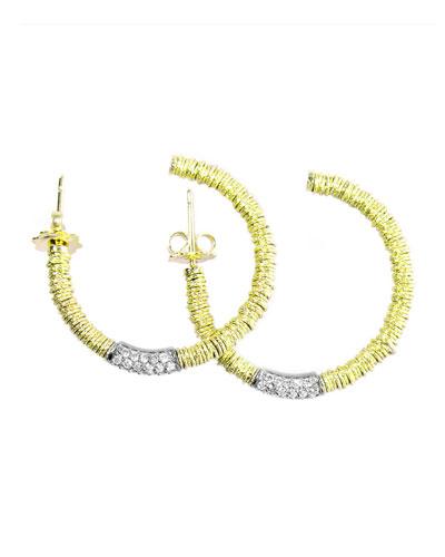 JOY 18k Gold Hoop Earrings w/ Diamond Tube