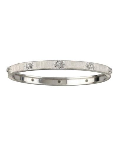 Macri 18k White Gold Diamond Bangle Bracelet