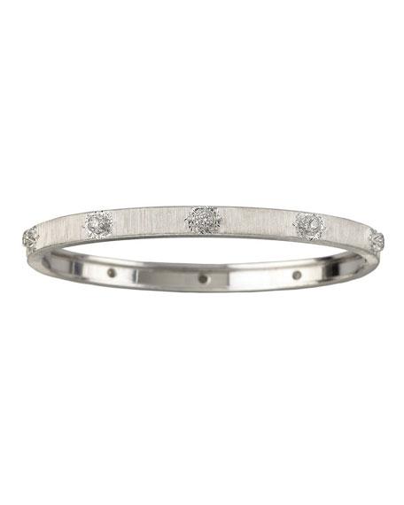 Buccellati Macri 18k White Gold Diamond Bangle Bracelet