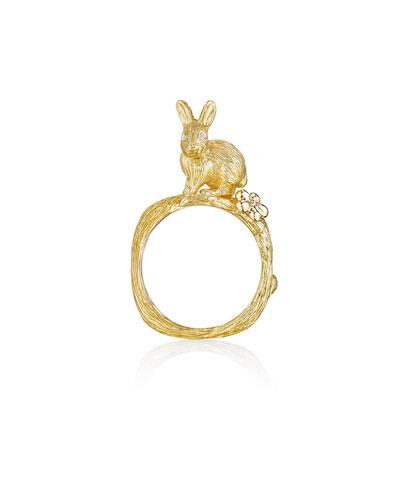 Wonderland 18k Bunny & Orchid Ring, Size 7