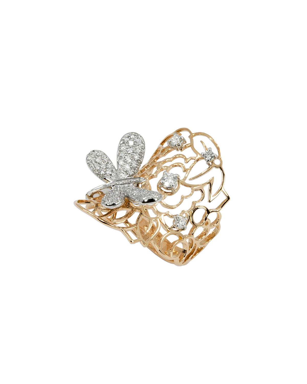 STAURINO FRATELLI 18K Moresca Dragonfly Ring W/ Diamonds