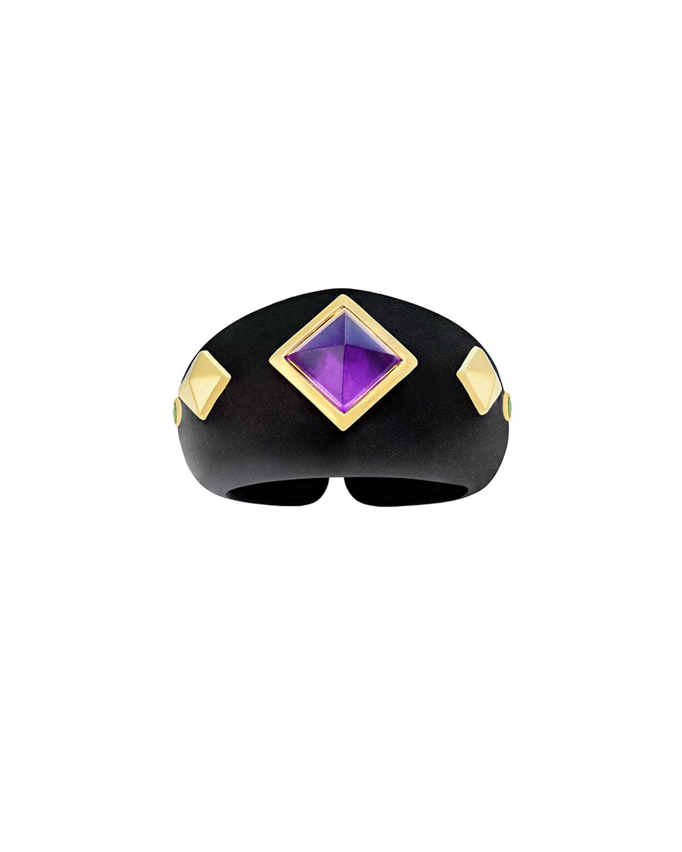 18k Black Jade & Amethyst Ring