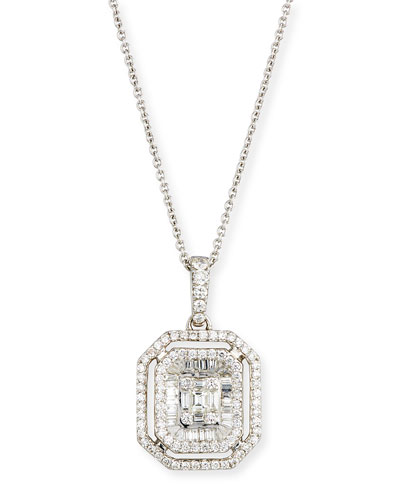 Mosaic Emerald-Cut Illusion Diamond Pendant Necklace in 18K White Gold