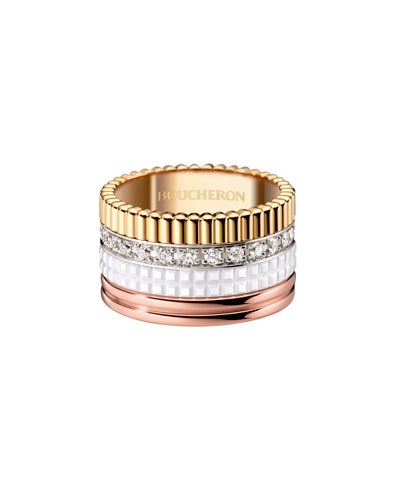 Quatre Large 18K Gold & White Ceramic Ring with Diamonds, Size 54