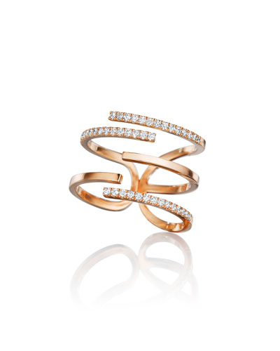 Piece 18k Rose Gold Diamond Stick Ring