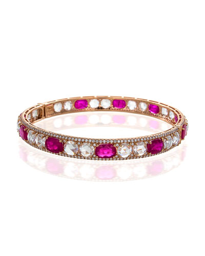 Rose-Cut Ruby & Diamond Bangle