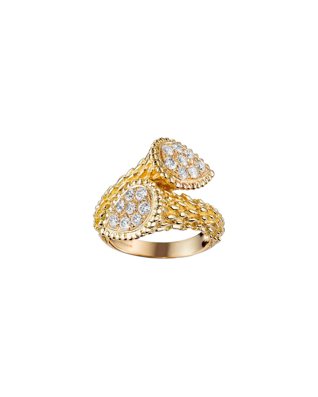 Serpent Boheme 18k Gold Diamond Bypass Ring