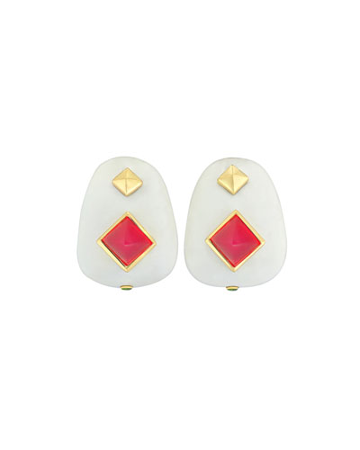 18k White Agate & Red Chalcedony Earrings