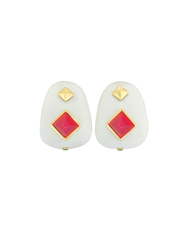 18k White Agate & Red Chalcedony Earrings
