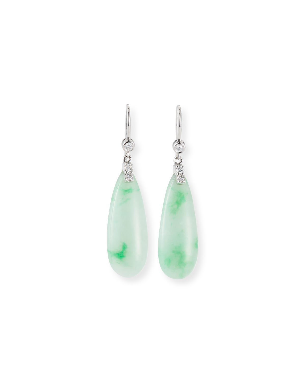 Jadeite & Diamond Drop Earrings