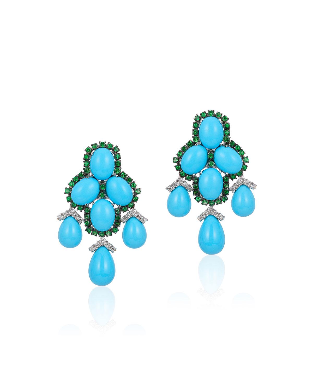 ANDREOLI 18K White Gold, Turquoise, Diamond & Tsavorite Earrings