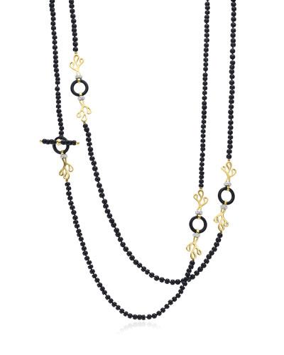 18k Gold Sea Leaf Onyx & Diamond Necklace