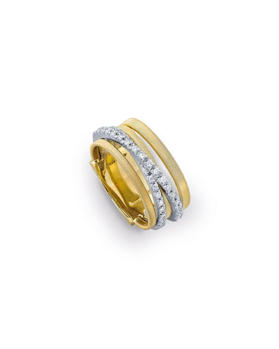 Goa Five-Row Crossover Ring with Diamonds
