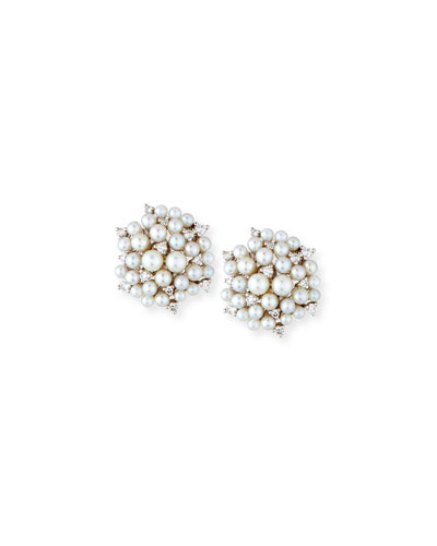 Lagrange Pearl & Diamond Cluster Earrings